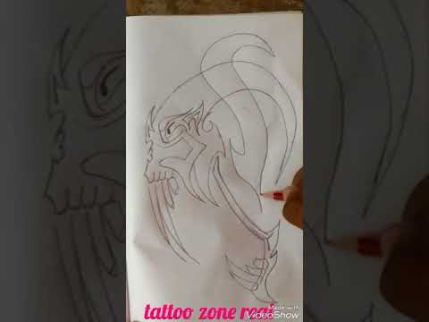 Sketching Out a Dragon Head - Turned Into a Tribal Tattoo Design ll by tattoos zone real