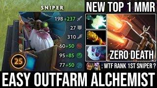 NEW World Top 1 MMR Sniper | WTF 100% Free Hit \u0026 Outfarm Alchemist Deleted ALL with Zero Death DotA2