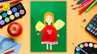 Как нарисовать фею - урок рисования для детей от 4 лет, рисуем дома поэтапно