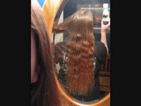 combing hip length hair