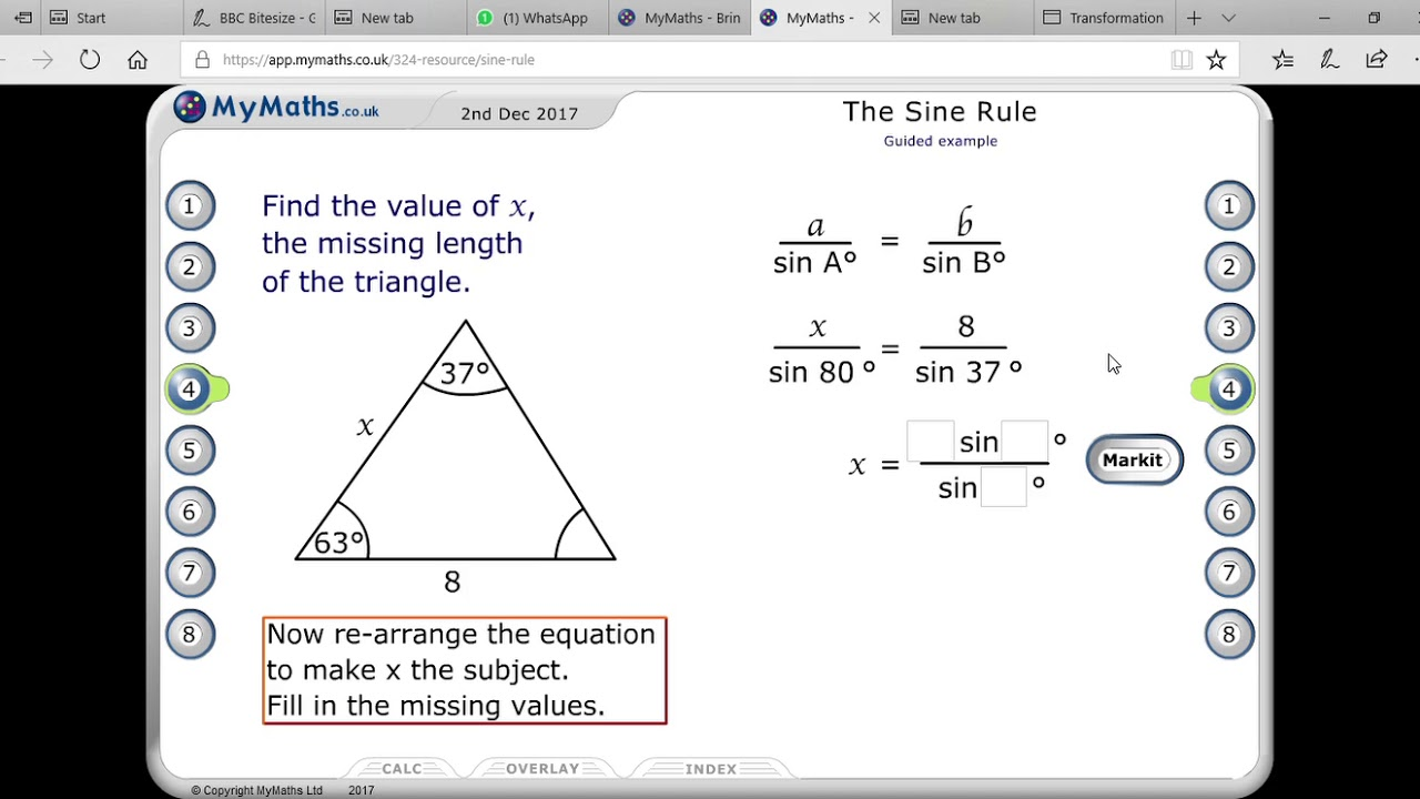 finding sides using sine rule/trigonometry-higher maths/IB MATH