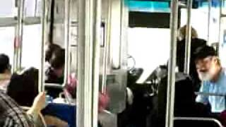 67 years old beats young black man (bus fight)