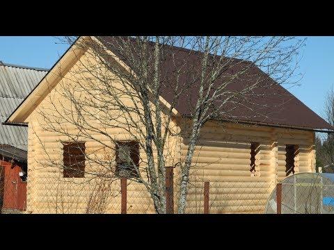 Дом 6х9м.  из оцилиндрованного бревна в тёплом контуре  ( Дома, Бани, Бытовки в СПб )