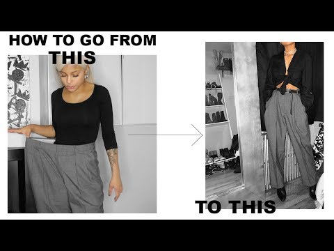how-to-transform-pants-that-are-too-big-in-2-min-:-no-sewing-||-ariana.ava