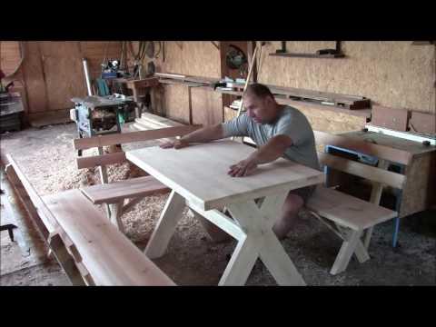 Самый простой  уличный стол с лавками!