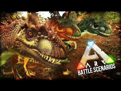 Ark Dino Battle Scenarios | RUMBLE UNDER THE REDWOODS (Allosaurus VS Stegosaurus)