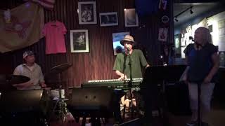 "Rog Bates singer and pianist covers the R&B classic song ""Mustang Sally"" during soundcheck."