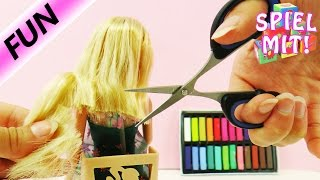 Barbies HEFTIGE Veränderung Story - Barbie beim Friseur mit Färben und Schneiden - neuer Look