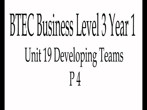 BTEC Business Level 3 Unit 19 Developing Teams in Business