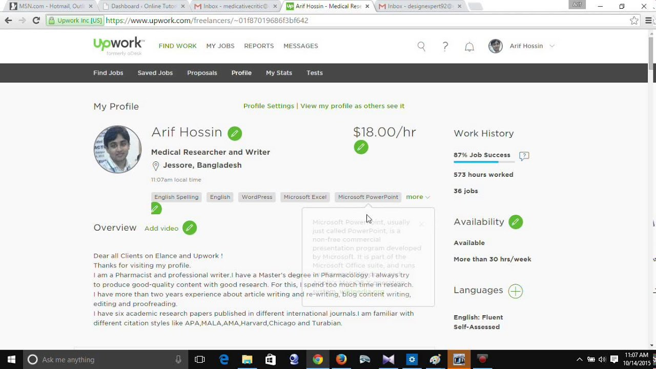 Upwork Tutorial-4| How to set or edit profile on upwork - YouTube