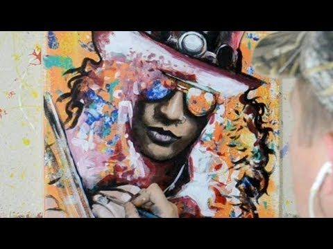 Painting a Portrait of Slash - Contemporary Pop Art Style