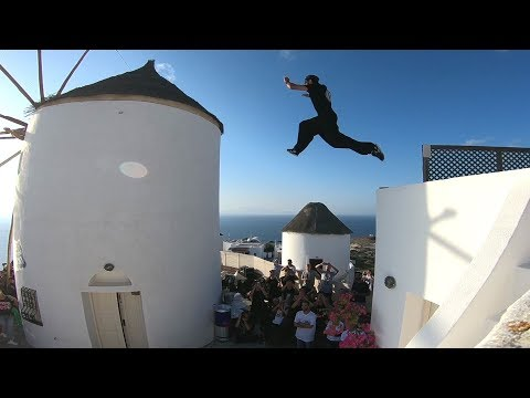 World's best Freerunners compete in Santorini