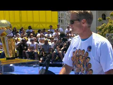 Warriors' Head Coach Steve Kerr Jokes To Fans During Speech
