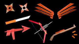 Top 07 Fun Origami Claws/Ninja Star/Bow/Gun/Knife - How to make