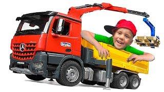 Трактор И Грузовик Bruder С Манипулятором Приехал На Помощь Машинки Для Мальчиков