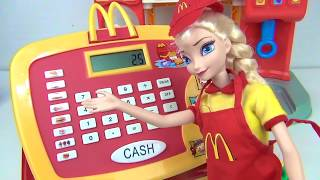 COMPILATION Mcdonald's Drive Thru Cashier Register Videos with Elsa, Poppy and Moana