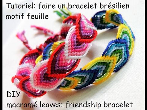 Tutoriel faire un bracelet brésilien motif feuille (DIY macramé leaves  friendship bracelet)