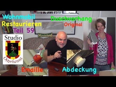 wohnmobil-renovieren-teil-#059-spüle-reparieren-emaillelack-duschvorhang-abdeckungen-kürzen-polster