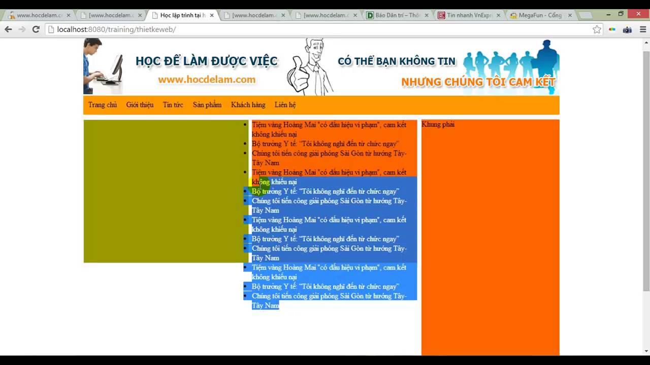 Web programming with php,Bài 15 Su dung ul li hiển thị danh sách tin trong khung tin mới