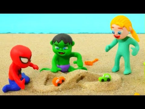 Superhero Babies Play With Sand Frozen Elsa Spiderman Hulk Play Doh Cartoons Stop Motion