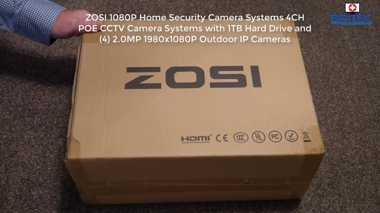 ZOSI 1080P 4CH 2MP POE CCTV Home Security Camera System