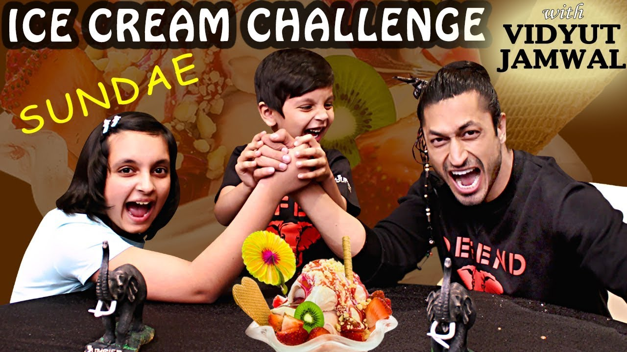 ICE CREAM CHALLENGE ft. VIDYUT JAMMWAL | #Bloopers #Sundae | Eating Challenge | Aayu and Pihu Show