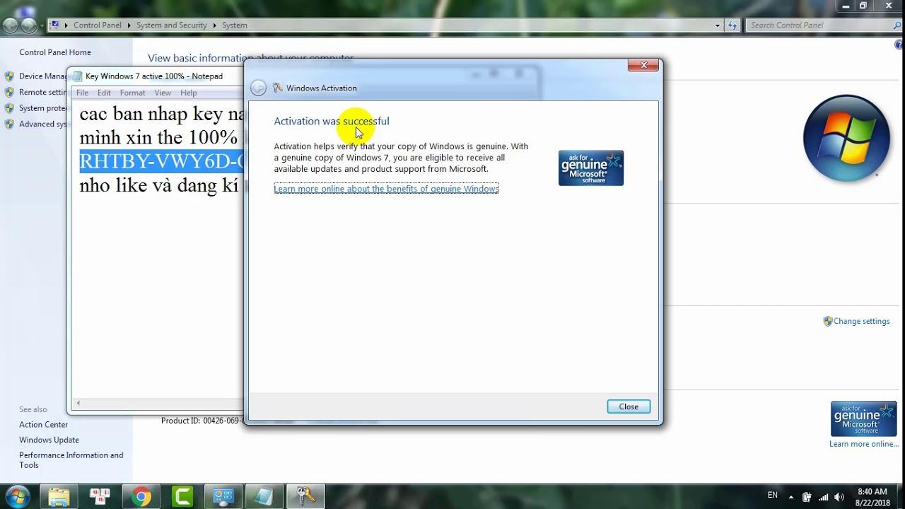 Hướng Dẫn Crack Active Windows 7 Bằng Key Xịn Thành Công 100%