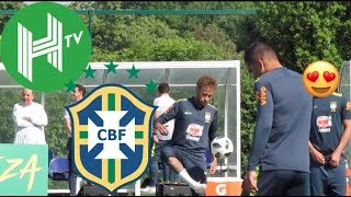 Neymar & Brazil team-mates show off their skills in training
