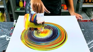 Using a Stick to Create Designs in Fluid Art  / Wrecked Ring Pour / Acrylic Pouring / Pour Painting