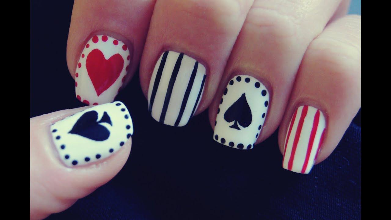 Playing Cards Nail Art- Karciane Paznokcie - YouTube