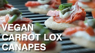 Vegan Carrot Lox Canapes with Oat Blinis