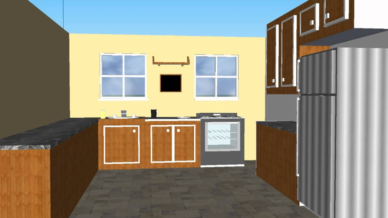 Basic kitchen design 1080 hd google sketchup 8 youtube for Basic kitchen remodel ideas