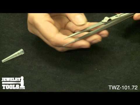 TWZ-101.72 - Original Dumont Diamond Tweezers, Matte, Fine Point Locking - Jewelry Demo