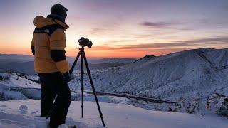 【風景写真】厳冬期雪に包まれた渋峠・白根火山の朝焼け|NikonZ7・NikonZ6II
