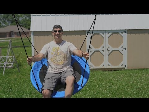 "40"" Saucer Swing for the kids - DIY Swing Set Frame -  Backyard Build"