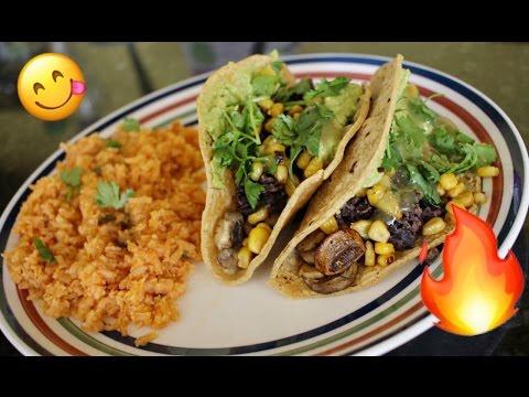 VEGETARIAN Black bean, Roasted Mushroom & Corn Tacos   VEGAN Spanish Rice   Monika Zamudio