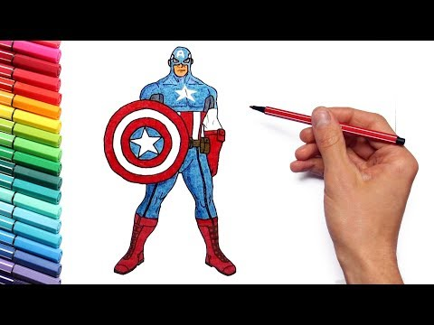 How To Draw Captain America - Marvel Avengers Superheroes Captain America And Thor Color Pages