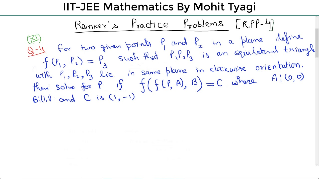 RPP-4(Rankers Practice Papers)-IIT JEE mains-advance maths online ...