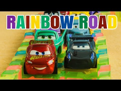 Rainbow Road Cars Race W/Legends McQueen & Storm Ramone Cruz Mater Flow Sheriff