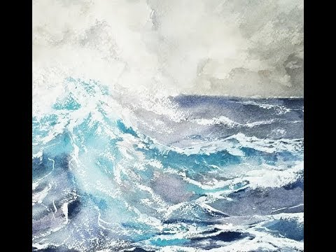 Watercolor ocean wave simple painting tutorial