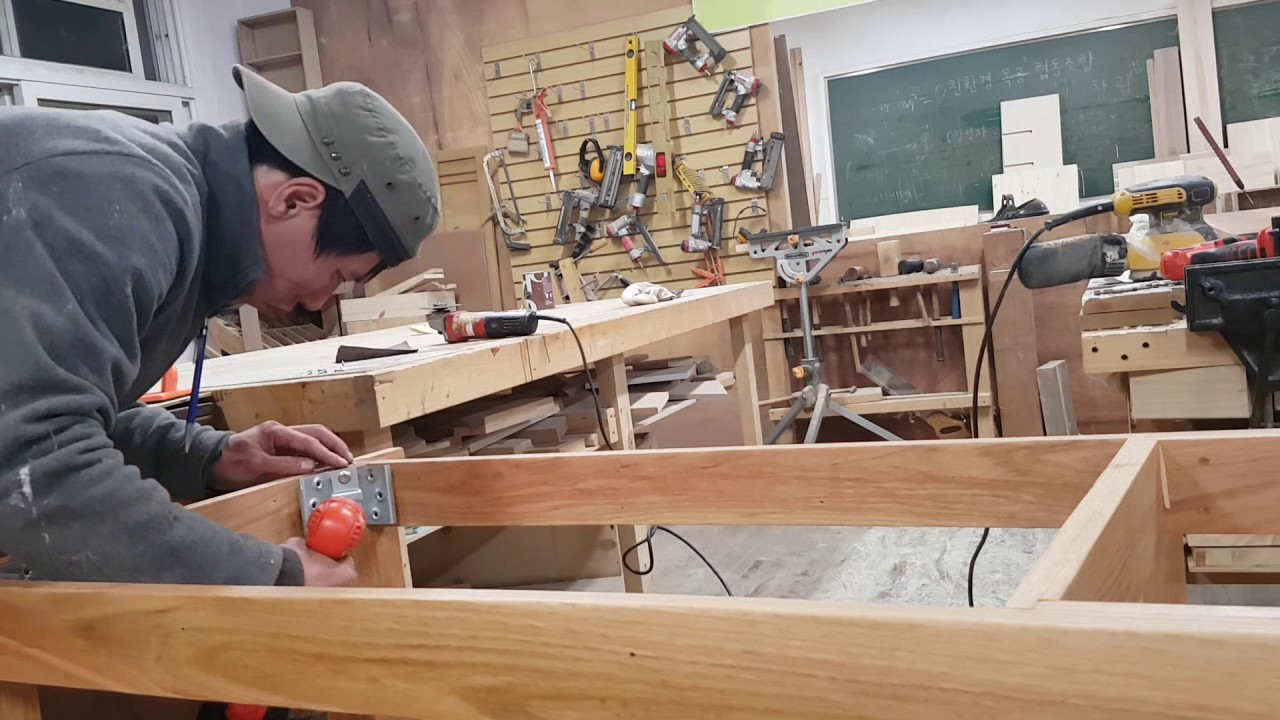 오크(참나무) 식탁 분해조립이 용이한 사괘맞춤 다이닝테이블 ...