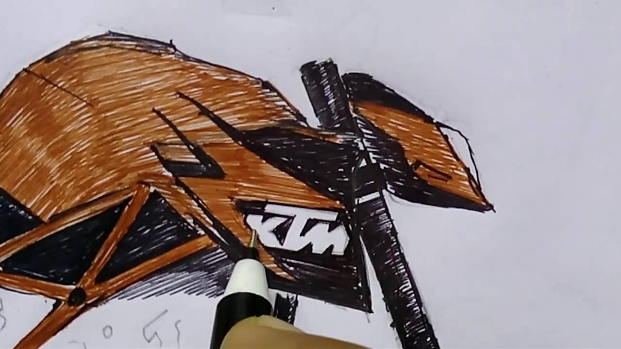 Ktm Duke 690 Drawing Time Lapse Youtube