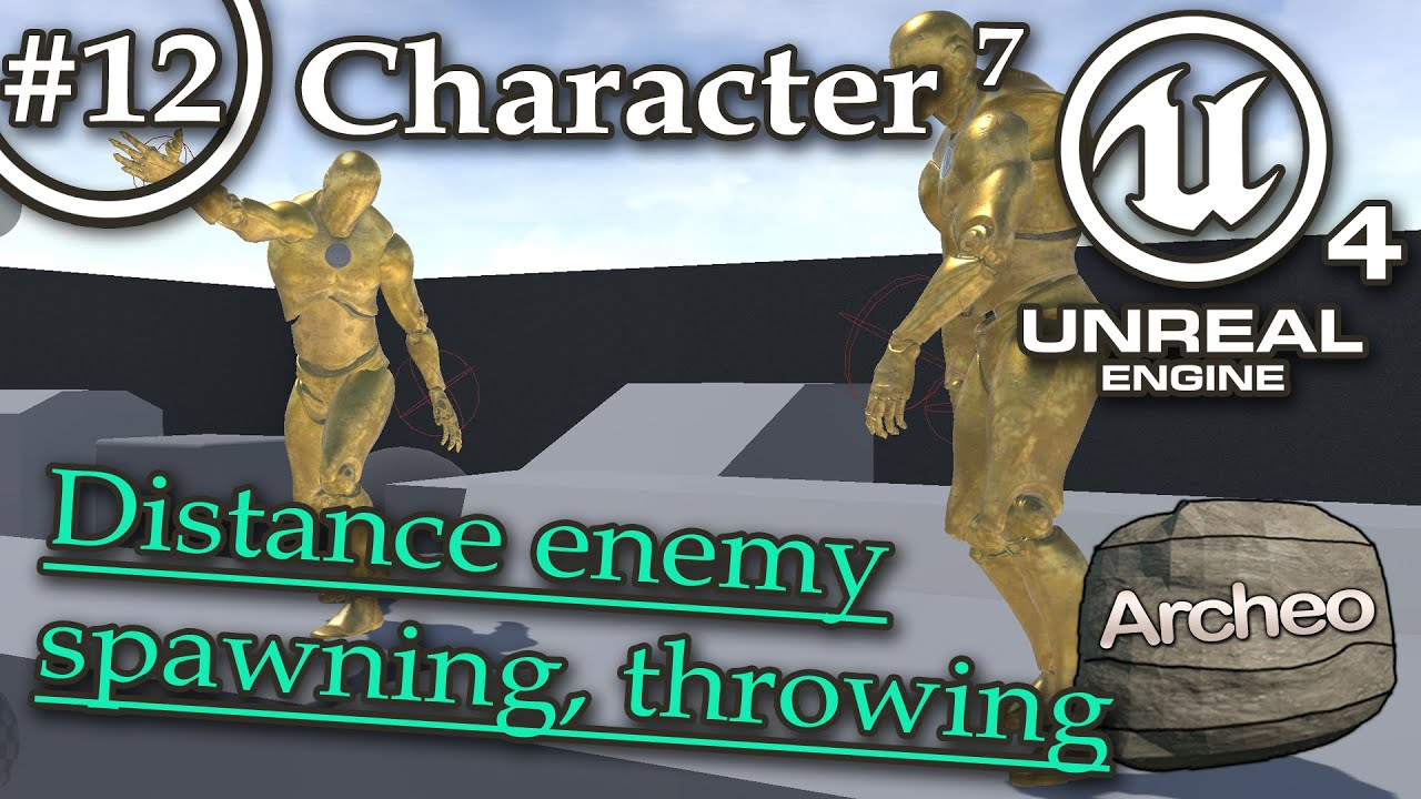 UE4 Tutorial #12 Character (7) Spawning & throwing items, distance enemy