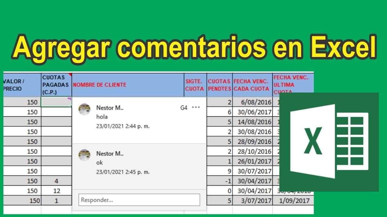 Agregar, insertar comentarios en Excel