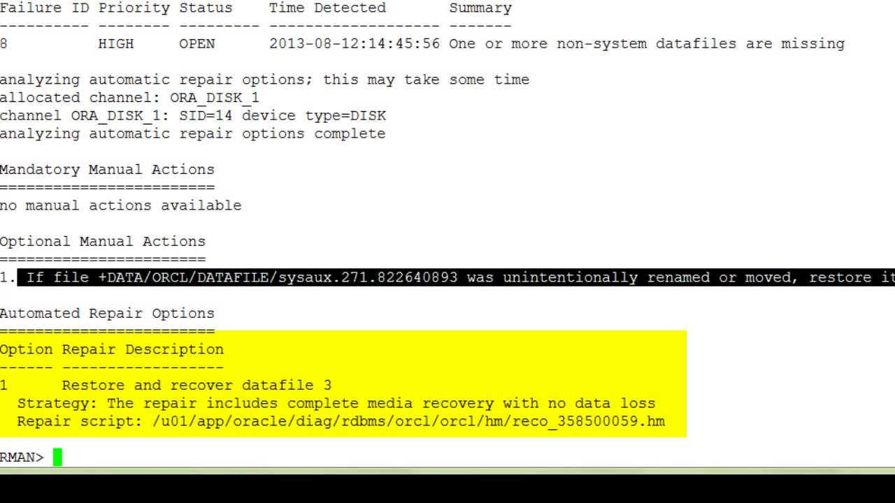 Oracle Database 12c: Recovering by Using an Encrypted Backup