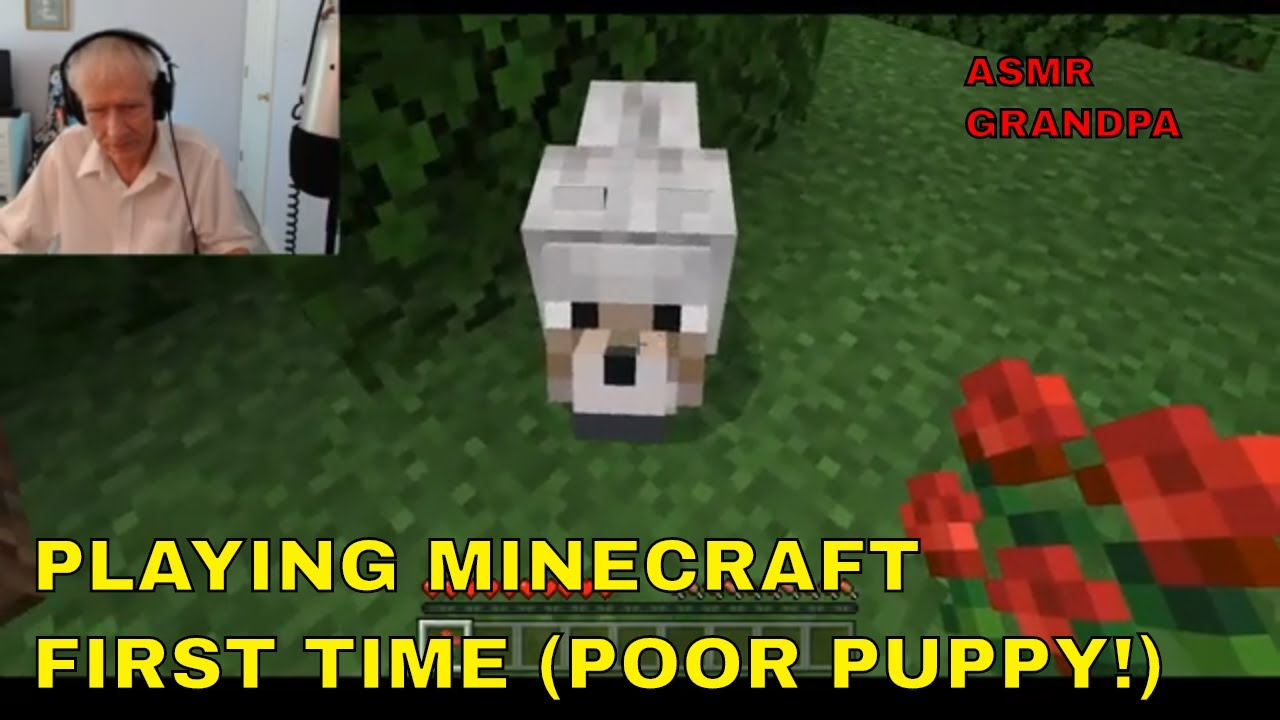 MY FIRST TIME PLAYING MINECRAFT! - POOR DOGGIE!  - (ASMR GRANDPA)