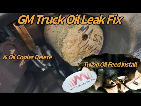 LS Oil Cooler Gasket Leak GM Trucks + Turbo Oil Feed Line & Factory Oil Cooler Delete 6.2 5.3
