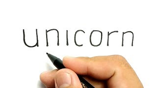 Very Easy!, How to turn words UNICORN into cartoon for kids / drawing for kids