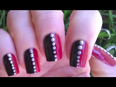 Pretty Black & Pink & Silver Easy Nail Art Designs