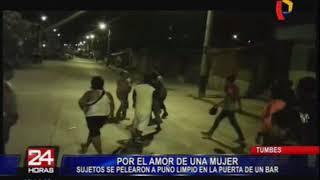 Tumbes: sujetos se agarran a golpes por una mujer en un bar